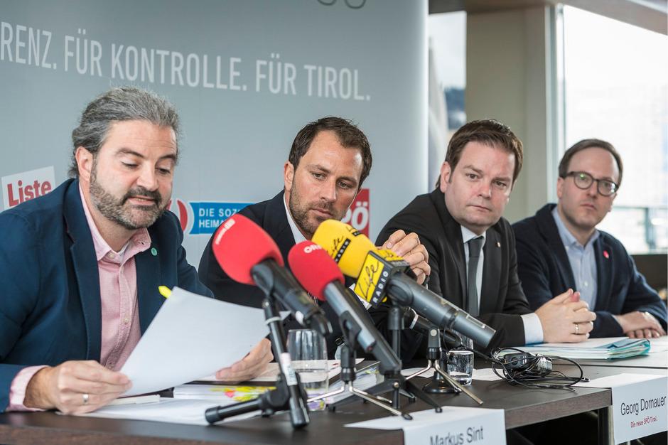 Markus Sint, Georg Dornauer, Markus Abwerzger und Dominik Oberhofer (v.l.) rechneten Freitag mit Schwarz-Grün ab.