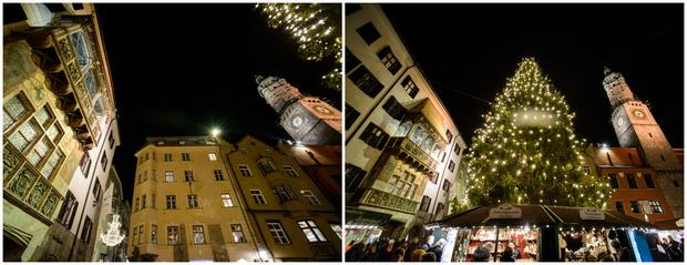 16 Tage machen das Goldene Dachl und der Innsbrucker Stadtturm mit oranger Beleuchtung darauf aufmerksam, dass die Zahl der von Gewalt betroffenen Frauen sehr hoch ist.