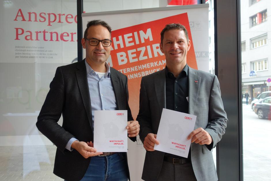 Fehlende Gewerbeflächen für die Betriebsentwicklung seien eines der zentralen Probleme im Bezirk, sind sich Wirtschaftskammer-Präsident Christoph Walser (l.) und Bezirksobmann Patrick Weber einig.