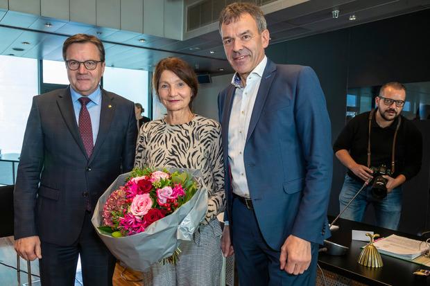 Landeshauptmann Günther Platter, Vizebürgermeisterin Uschi Schwarzl und Bürgermeister Georg Willi.