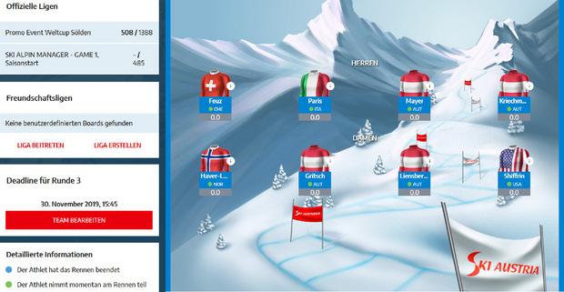 Jeder Spieler muss sich vier Skifahrerinnen und vier Skifahrer auswählen.