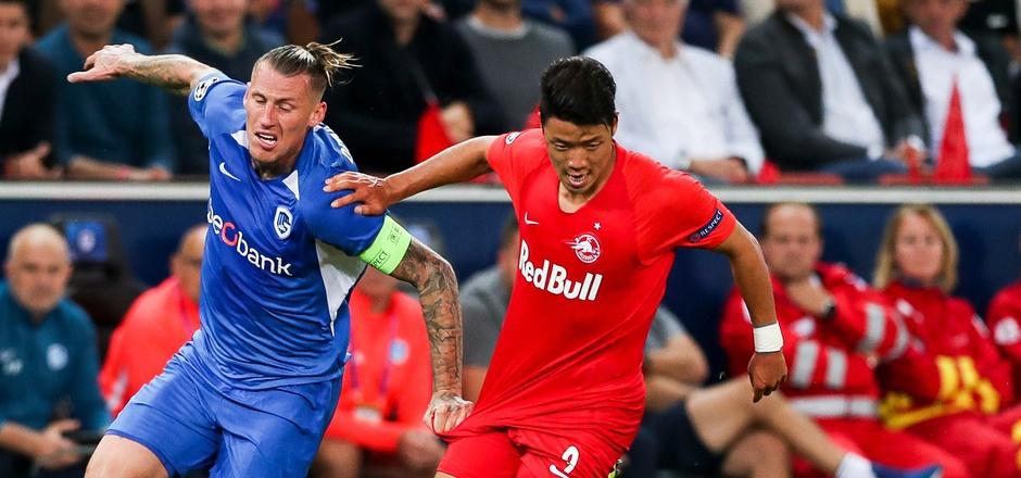 Salzburgs Hwang Hee-chan war beim 6:2-Hinspielsieg von Sébastien Dewaest (l.) nicht zu halten - das soll heute nicht anders sein.