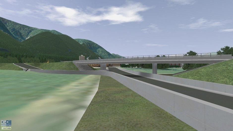 Laut Plänen von 2011 soll das Gleis auf einer Brücke über die B171 geführt werden.