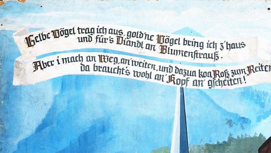 Der Spruch der Imster Vogler findet sich als Fresco in der Imster Pfarrkirche wieder.