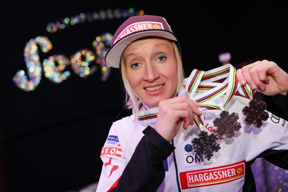 Daniela Iraschko-Stolz dachte nach der erfolgreichen Heim-WM in Seefeld nur kurz an ein Karriereende.