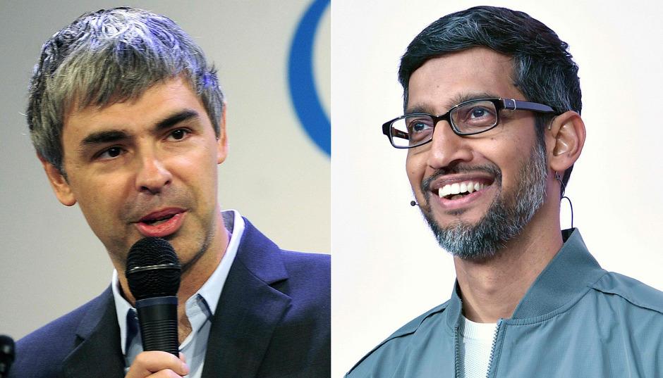 Larry Page (l.) und Sundar Pichai.